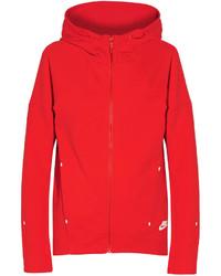 Nike Tech Fleece Cotton Blend Jersey Hooded Top Red