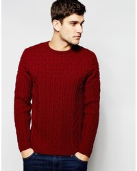 Asos Brand Cable Knit Sweater With Textured Yoke
