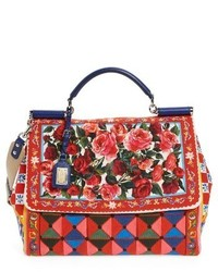 Dolce & Gabbana Dolcegabbana Carretto Fiori Sicily Canvas Satchel Red