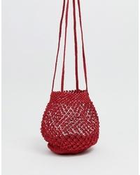 Mango Braided Shoulder Bag In Red