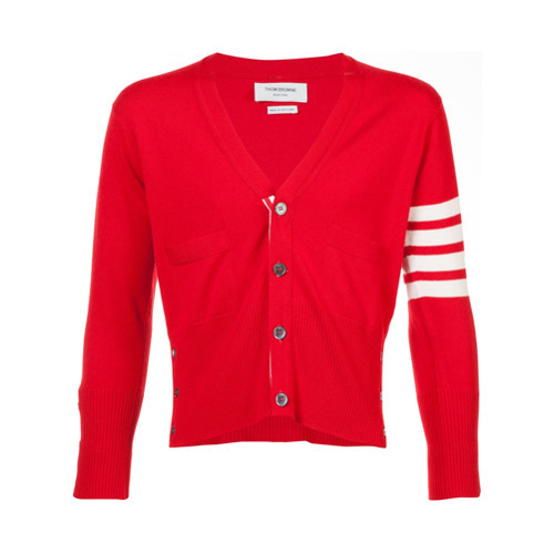 Thom Browne Short V Neck Cardigan With 4 Bar Stripe In Red Cashmere