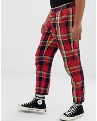 ASOS DESIGN Relaxed Trousers In Red Check