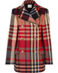 Khaite Clara Double Breasted Checked Wool And Cashmere Blend Coat