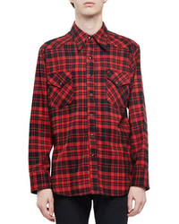 Red Check Flannel Long Sleeve Shirt