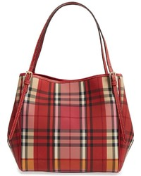 039258dbad4a Burberry Small Canter Horseferry Check Leather Tote Red