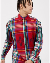 ASOS DESIGN Oversized Aztec Check Shirt In Red