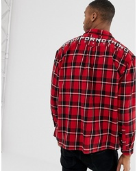 Good For Nothing Oversized Check Shirt In Red With Back Logo