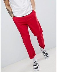 ASOS DESIGN Relaxed Cropped Chinos In Red