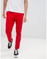 ASOS DESIGN Skinny Chinos In Bold Red