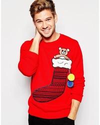 Asos Brand Holidays Sweater With Stocking