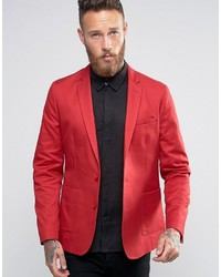 Asos Skinny Blazer In Washed Cotton In Red