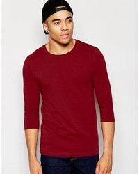 Asos Brand Muscle Long Sleeve T Shirt With Crew Neck In Red