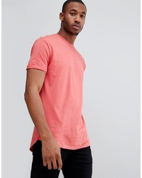 Bershka Join Life Longline T Shirt In Red
