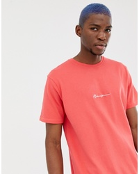 Mennace Oversized T Shirt In Red With Script Logo