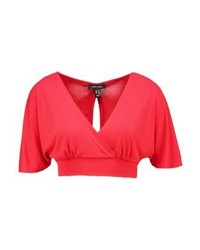 New Look Cape Crop Print T Shirt Bright Red