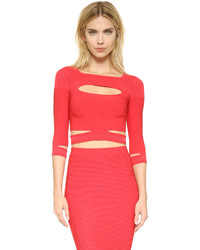 Cushnie et Ochs Cropped Slashed Knit Top