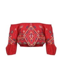 New Look Kortney Crop Blouse Red