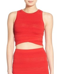 ASTR Texture Stripe Crop Top Size Large Red
