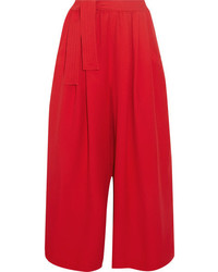 Tome Cropped Crepe Wide Leg Pants Red