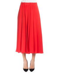 Victoria Beckham Elastic Waist Pleated Culottes Red