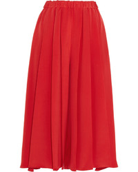 Victoria Beckham Pleated Silk Crepe De Chine Culottes Red