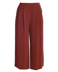 Topshop Sasha Crop Wide Trousers Raspberry