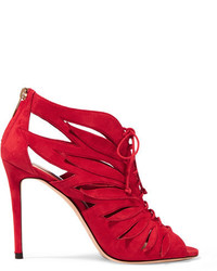 Keena cutout suede ankle boots red medium 1251471