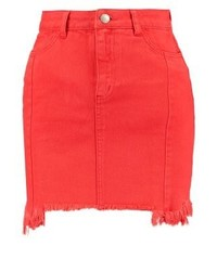 New Look Denim Skirt Red