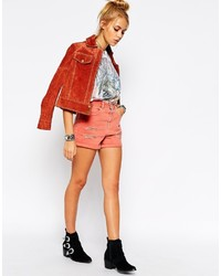 Collection denim mom shorts in red with rips medium 210474