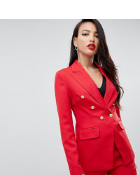 Missguided Tall Military Blazer In Red