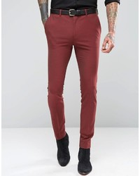 Brand super skinny suit pants in dark red medium 617919