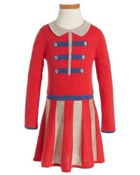 Girls Mini Boden Sparkle Knit Skater Dress