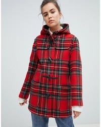 Gloverall Mid Length Duffle Coat In Check Check
