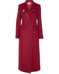 Embellished wool coat claret medium 819572