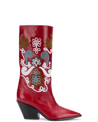 Casadei Patch Embellished Cowboy Boots