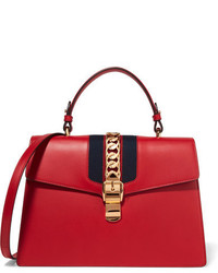Gucci Sylvie Medium Chain Embellished Leather Tote Red
