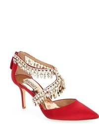 Red Embellished Satin Pumps