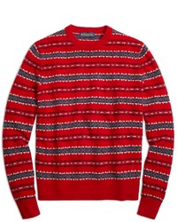 Red Fair Isle Crew-neck Sweater