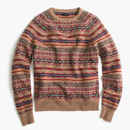 J.Crew Lambswool Fair Isle Sweater In Honey   Where to buy & how ...