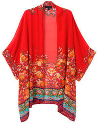 Red Floral Cardigan