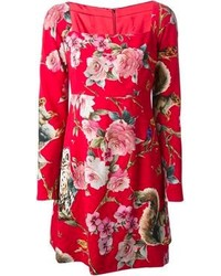 Red Floral Casual Dress