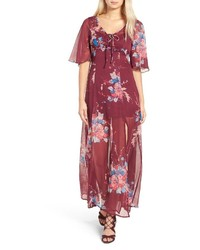 Red Floral Chiffon Maxi Dress