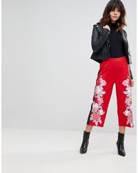 ASOS DESIGN Asos Scuba Culottes With Floral Print Stripe