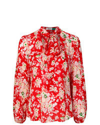 Red Floral Long Sleeve Blouse