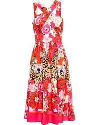 Red Floral Midi Dress