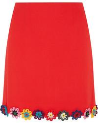 Mary Katrantzou Clovis Floral Appliqud Wool Crepe Mini Skirt Red