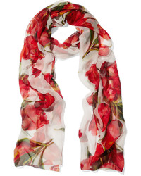 Dolce & Gabbana Floral Print Silk Chiffon Scarf Red