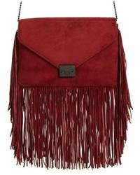 Red Fringe Suede Clutch