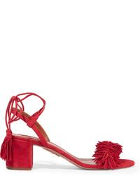 Wild thing fringed suede sandals red medium 440159