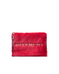 Givenchy Red And White Ed Faux Fur Pouch